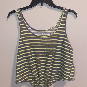 Medium striped tank top with knot on bottom
